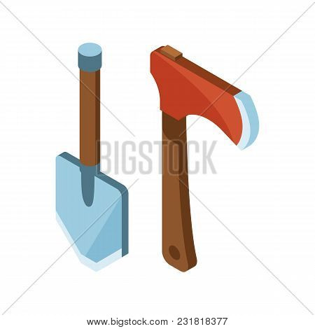 Shovel And Hatchet Isometric Icon. Tourist Dig And Ax In Isometry Style.