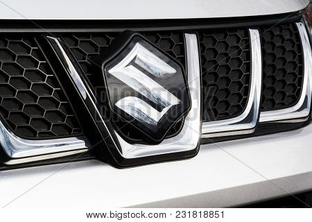 Prague, Czech Republic - March 9 2018: Suzuki Motor Corporation Logo On Suzuki Vitara Car On March 9