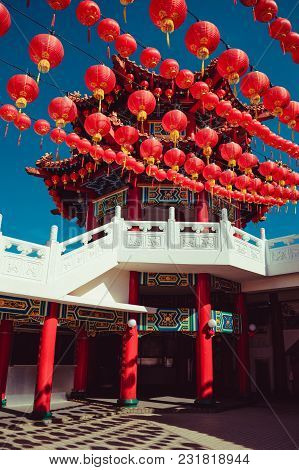 Beatiful Than Hou Temple, Kuala Lumpur Attraction. Travel To Malaysia. Architecture Background. Reli
