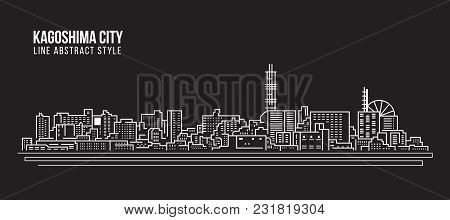 Cityscape Building Line Art Vector Illustration Design - Kagoshima City