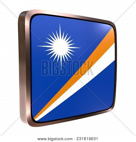 3d Rendering Of A Marshall Islands Flag Icon With A Bright Frame. Isolated On White Background.