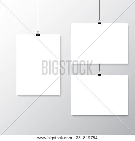 Image Vector White Poster Hanging On Binder. Grey Wall With Mock Up Empty Paper Blank. Layout Mockup
