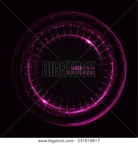 Abstract Techno Background With Spirals And Rays With Glowing Particles. Tech Design. Lights Vector