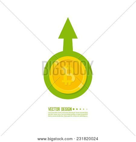The Graph Shows The Growth And Profit Crypto Currency Bitcoin. Vector Illustration Of  Bitcoin Digit