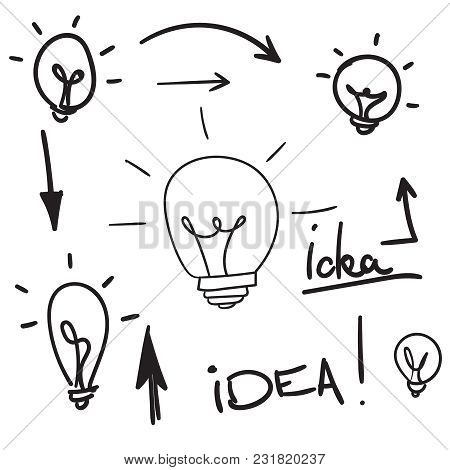 Bulb Light Idea. Concept Of Big Ideas Inspiration Innovation, Invention, Effective Thinking. Vector