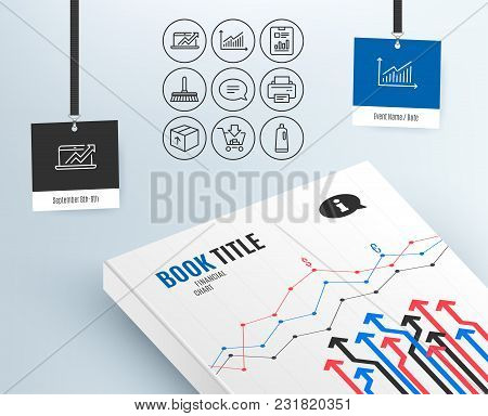 Set Of Graph, Sales Diagram And Package Icons. Report Document, Cleaning Mop And Shopping Signs. Pri