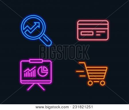 Neon Lights. Set Of Credit Card, Presentation And Analytics Icons. Delivery Shopping Sign. Card Paym