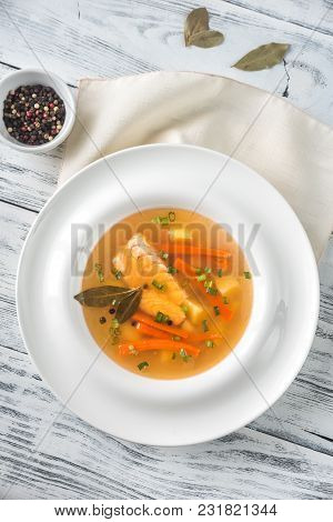 Portion Of Salmon Soup