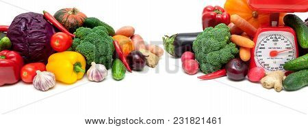 Vegetables And A Kitchen Scale On A White Background. Horizontal Photo.