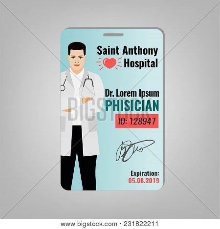 Doctors Id Card With Hospital Logo And Phisician Image. Medical Specialist Badge Template For Medici
