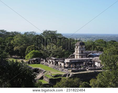 A View Of The Palace At Ancient Mayan City Of Palenque In Mexico At Landscapes Of Jungle With Green