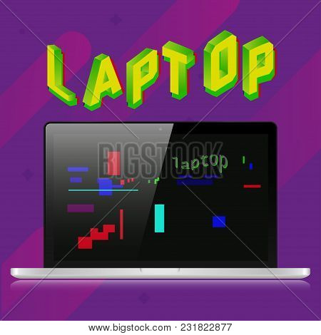 Gray Realistic Laptop On A Purple Background. 3d Letters Of The Glitch Effect. Old Retro Screen