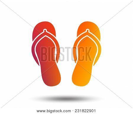 Flip-flops Sign Icon. Beach Shoes. Sand Sandals. Blurred Gradient Design Element. Vivid Graphic Flat