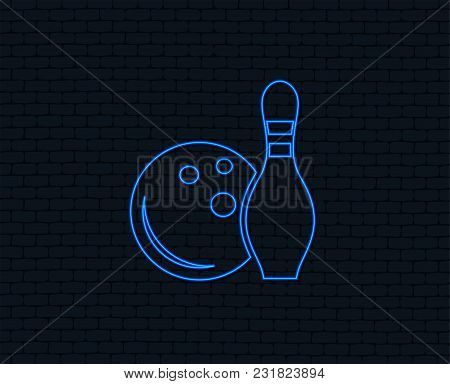 Neon Light. Bowling Game Sign Icon. Ball With Pin Skittle Symbol. Glowing Graphic Design. Brick Wall