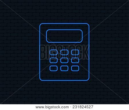 Neon Light. Calculator Sign Icon. Bookkeeping Symbol. Glowing Graphic Design. Brick Wall. Vector
