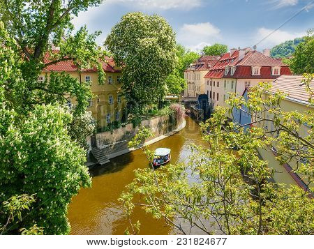 Water Channel Certovka In Prague In Springtime