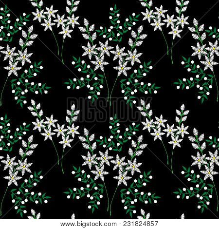 Seamless Pattern With Embroidery Stitches Imitation Fashion Pattern With Folk Flower