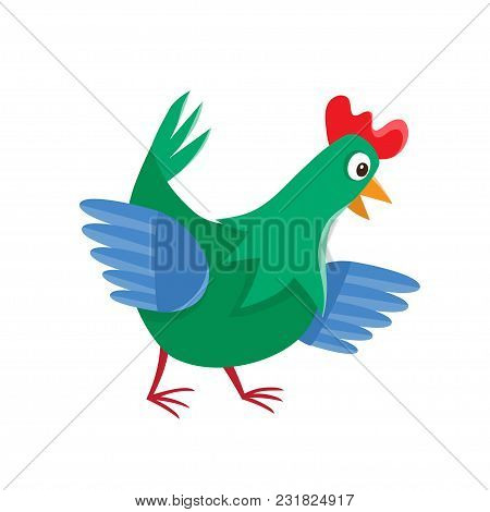 Cartoon Chicken Isolated On White. Cartoon Character Design Of Chicken Used For Books, Stickers, Pos