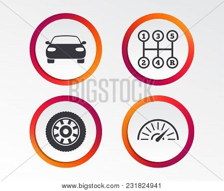Transport Icons. Car Tachometer And Mechanic Transmission Symbols. Wheel Sign. Infographic Design Bu