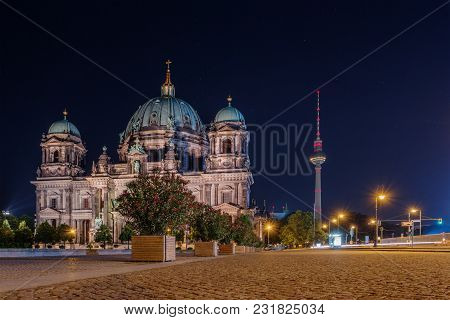 Berlin Cathedral And Tv Tower At Night, Germany, Europe. Famous Travel Destination, Landmark. City V