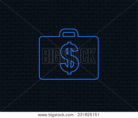 Neon Light. Case With Dollars Usd Sign Icon. Briefcase Button. Glowing Graphic Design. Brick Wall. V