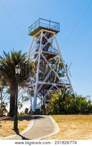 Bendigo, Australia - March 29, 2015: Poppet Head Lookout Tower In Rosalind Park. The Poppet Tower Wa