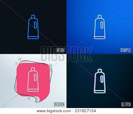 Glitch, Neon Effect. Cleaning Shampoo Line Icon. Washing Liquid Or Cleanser Symbol. Housekeeping Equ