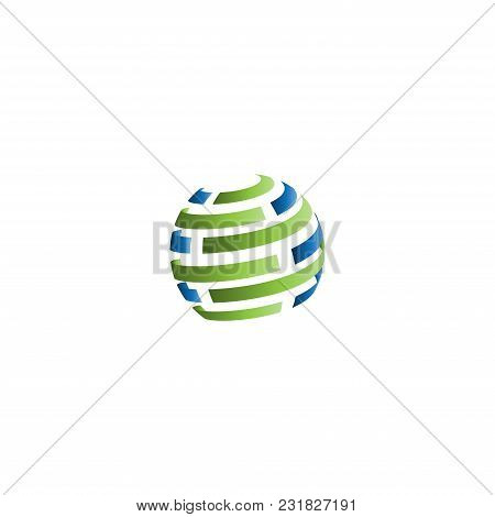 Abstract Icon 3d Sphere. Abstract Business Company Logo. Corporate Identity Design Element. Technolo