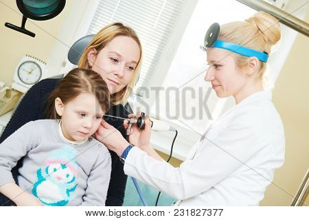 Ear, nose, throat examining. ENT doctor with a child and endoscope. otolaryngology