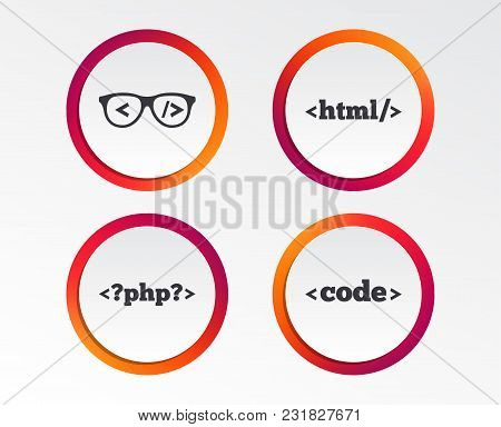 Programmer Coder Glasses Icon. Html Markup Language And Php Programming Language Sign Symbols. Infog