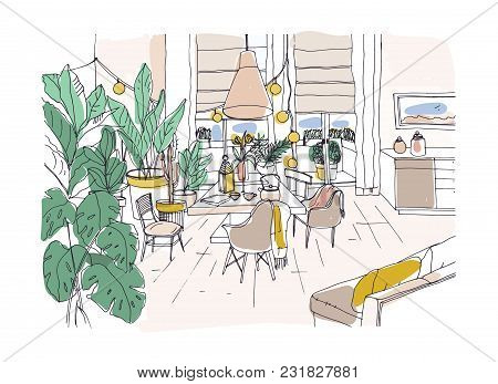 Colored Drawing Of Cozy Dining Or Living Room Furnished In Modern Scandic Hygge Style With Table, Ch