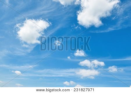 bright blue sky with soft cloud at day for background
