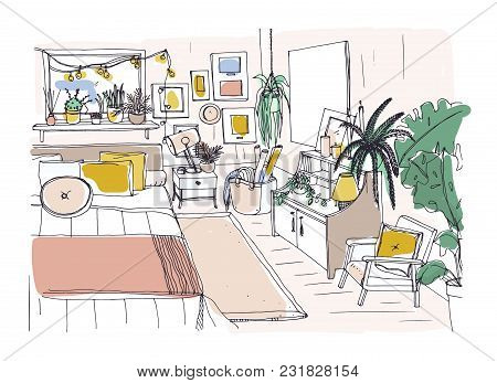 Freehand Sketch Of Comfortable Bedroom Furnished In Scandinavian Style. Room Full Of Stylish And Coz