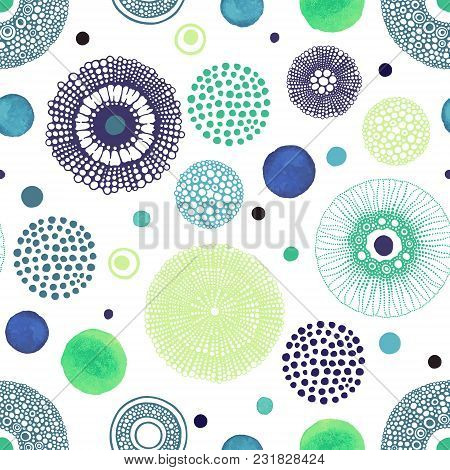 Abstract Summer Background With Hand Drawn And Watercolor Circles. Bright Vector Illustration. Seaml