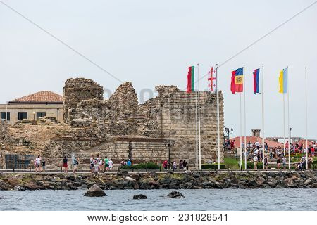 Nesebar, Bulgaria - August 21, 2017: Ruins Of An Ancient Fortress Wall At The Old Town Of Nesebar. N