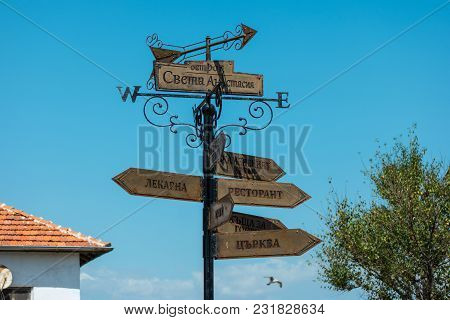 Burgas, Bulgaria - August 20, 2017: Index Of Places To Visit On The Island Of St. Anastasia In The B