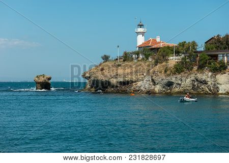 Burgas, Bulgaria - August 20, 2017: Burgas Bay Of The Black Sea And The Island Of St. Anastasia.