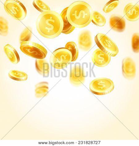 Golden Coins Splash Or Falling Dollar Gold Cents On White Background. Vector Splatter Coins For Weal