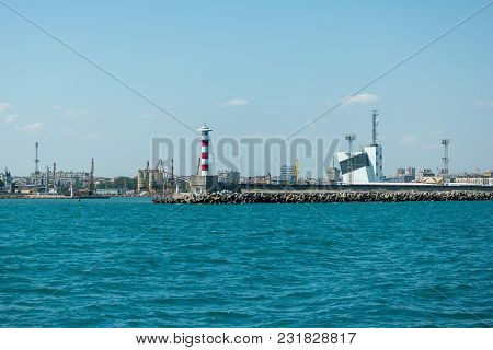 Burgas, Bulgaria - August 20, 2017: Lighthouse, Control Tower Of The Seaport Of Burgas. Burgas, Is T
