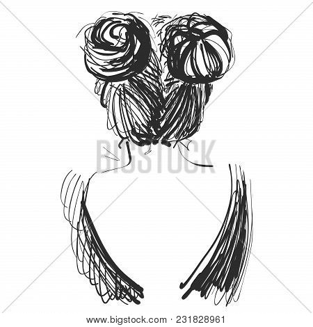 Young Beautiful Girl. Sketch. Vector Illustration Hair