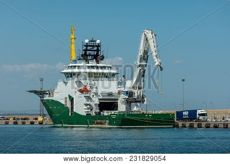 Burgas, Bulgaria - August 20, 2017: An Inspection, Maintenance And Repair (imr) Vessel Havila Subsea