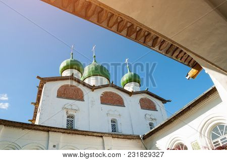 Architecture Landscape Of Veliky Novgorod Landmark - St Nicholas Cathedral In Nicholas Vyazhischsky