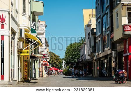 Burgas, Bulgaria - August 20, 2017: One Of The Central Shopping Streets Of The Seaside City. Burgas,