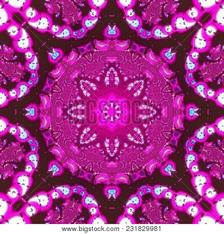 Mandala. 3d Surreal Illustration. Sacred Geometry. Mysterious Psychedelic Relaxation Pattern. Fracta