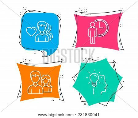 Set Of Waiting, Man Love And Couple Icons. Idea Sign. Service Time, Romantic People, Male And Female
