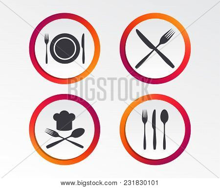 Plate Dish With Forks And Knifes Icons. Chief Hat Sign. Crosswise Cutlery Symbol. Dining Etiquette.