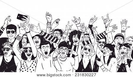 Crowd Of Excited People Or Music Fans With Raised Hands. Spectators Or Audience Of Summer Open Air F