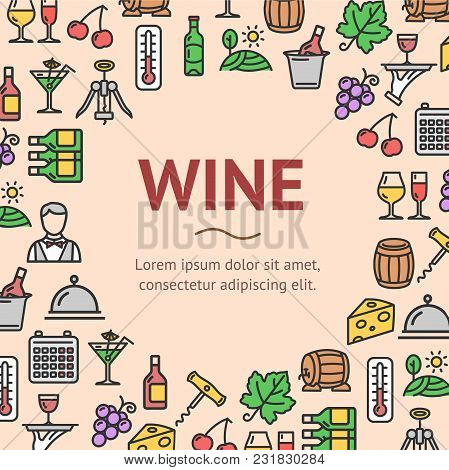 Wine Drink Signs Round Design Template Line Icon Frame Or Border Concept. Vector Illustration Of Ser