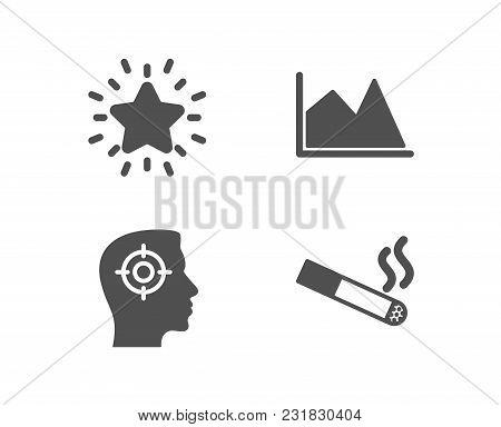 Set Of Line Chart, Recruitment And Rank Star Icons. Smoking Sign. Financial Graph, Headhunter Aim, B