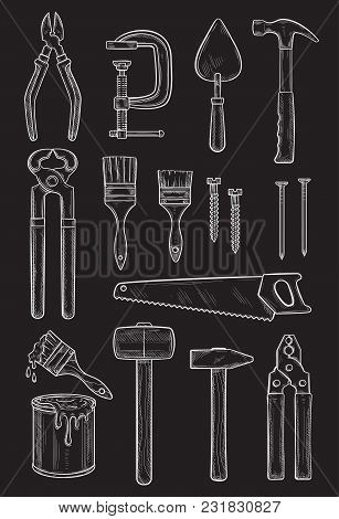Work Tools Chalk Sketch Icons. Vector Isolated Set Of Home Repair And Construction Tools Carpentry H